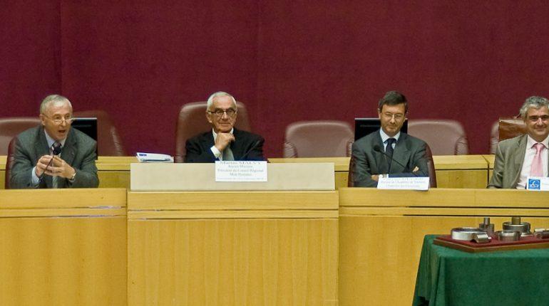 Gérard Rapp, Président de la Société Nationale des MOF, encourage ses collègues à trouver des candidats pour le prochain concours. (à ses côtés, Martin Malvy, Olivier Dugrip, recteur de l'académie de Toulouse et Éric Marie de Fiquelmont, Président du Comité d'Organisation).