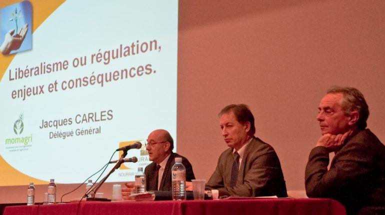 Jacques Carles (Momagri), Christian Pèes (groupe Euralis) et Jean-Claude Labit (Euralis Coopéval), trois échelons d'intervention mais une même vision de l'agriculture.