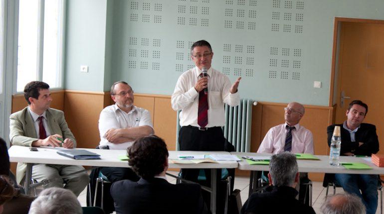 Michel Baylac (au micro), Président de la SAFER GHL, et Laurent Forest (à droite), Président du Comité technique 31, deux niveaux d'intervention mais un même but : la préservation du foncier agricole.