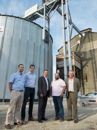 De gauche à droite : Jean Albert Massenet (directeur pôle agro), Pierre-Olivier Prévot, Pierre Couderc, Sébastien Raymond (technicien du secteur) et Jean-Claude Labit