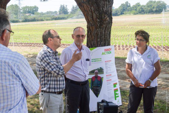 Claude Savignac (à droite) et Yvon Parayre, Président de la Chambre d'Agriculture, lors de la journée Innov'Action.