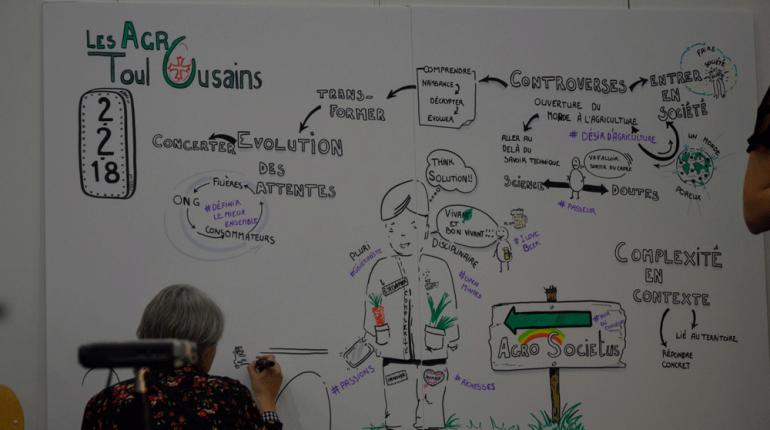 Fabienne Cottret, facilitatrice graphique, a illustré en direct les propos du colloque.