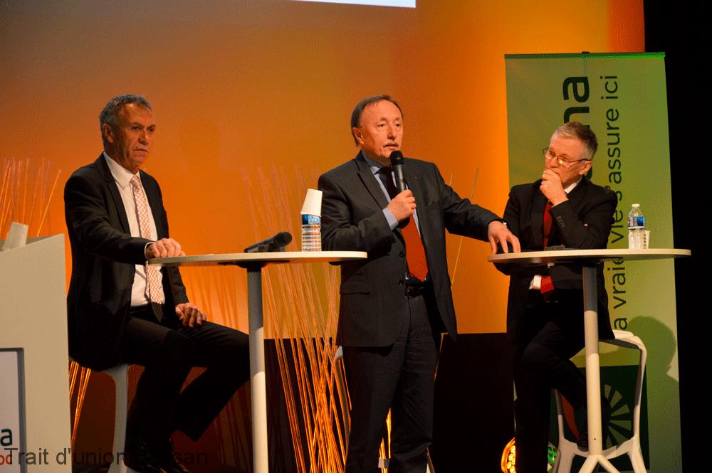 Jacques Sarlaboux (à gauche) présidait sa dernière assemblée générale, aux côtés de Jean-Yves Dagès, Gérard Joalland.