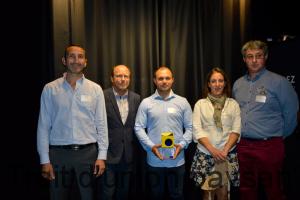 Yvon Parayre a salué le talent de ces producteurs innovants. De g. à d. : Paul Laurent, Jean-François Doumeng, Mathilde Riom et Yann Bacou.
