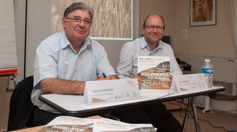 Gérard Pargade et Yvon Parayre prennent leur bâton de pèlerin pour faire connaitre la filière céréalière en Midi-Pyrénées.