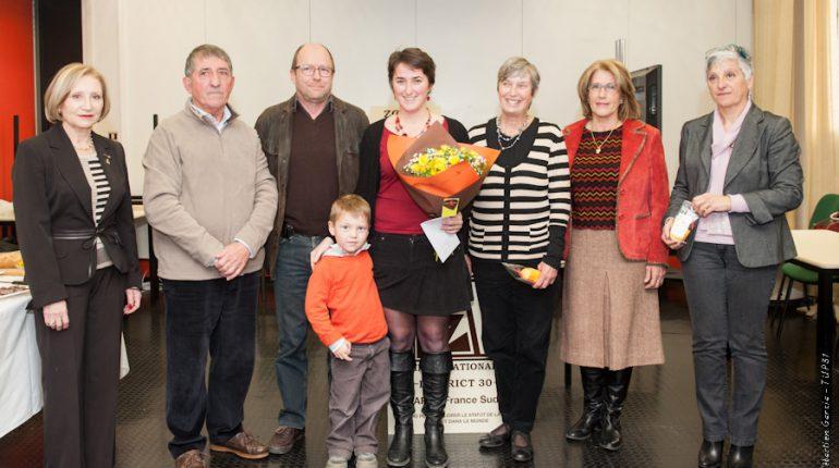 Marie-Blandine Doazan, au milieu de sa famille, des élus chambre d'agriculture 31 et de responsables du club Zonta