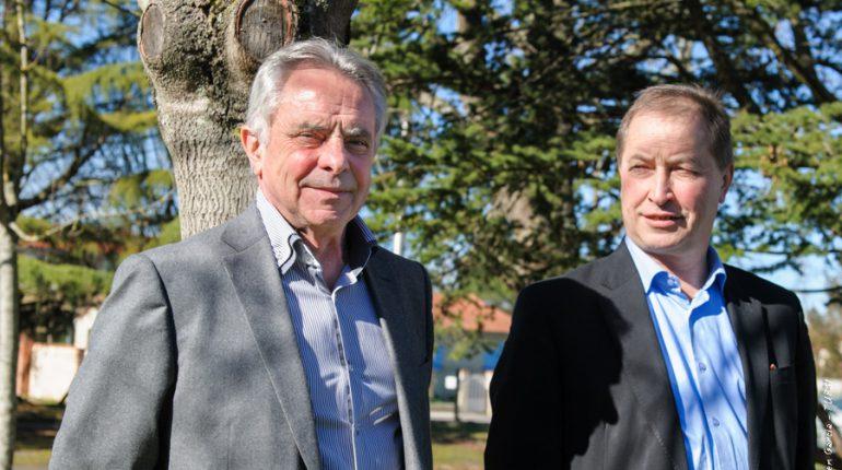 Jean-Claude Labit (à gauche) et Christian Pèes ont fait entériner, à Seysses, la fusion de Coopéval et Euralis, officialisée lors de l'AG d'Euralis, le 12 février à Pau.