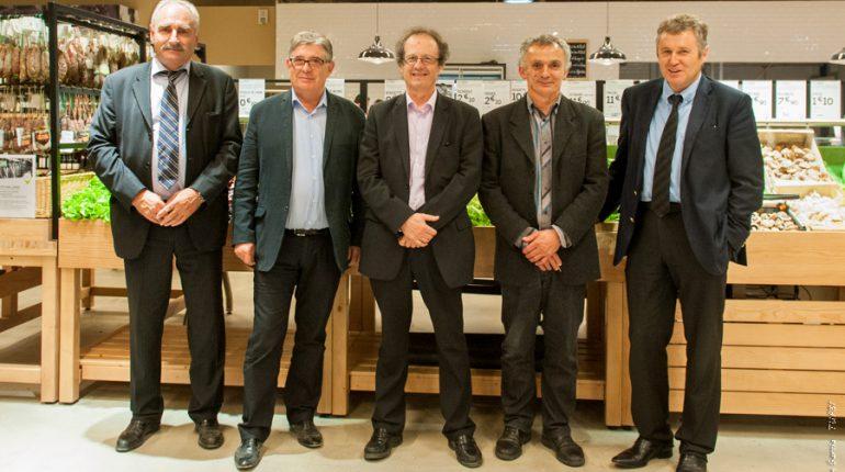 Jean-François Renoux (Arterris), Gérard Pargade (Vivadour), Jean-Claude Peyrecave (Val de Gascogne), Pierre Lafragette (Ferme de Figeac) et Thierry Blandinières (InVivo), les 5 fondateurs du 1er magasin Frais d'Ici.