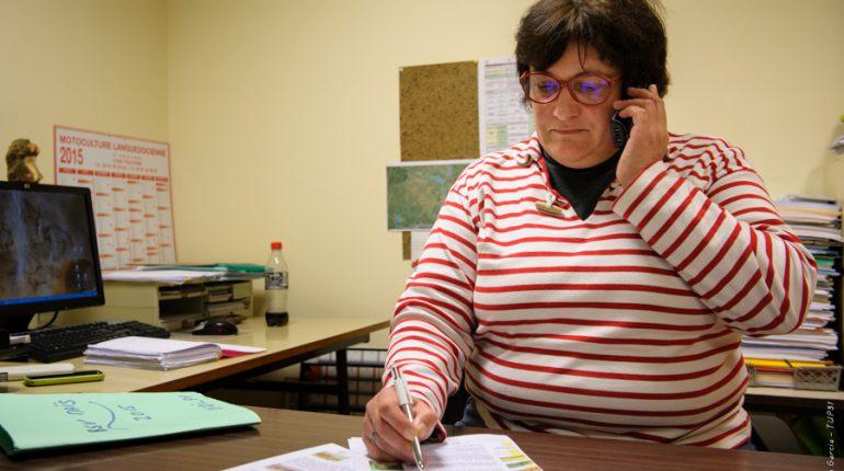 Sylvie Nicolier, animatrice du réseau BSV Maïs, pendant un Comité de rédaction téléphonique.