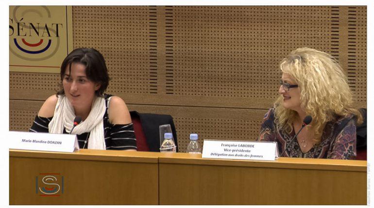 Marie-Blandine Doazan lors de la 2ème table ronde, animée par Françoise Laborde, Sénatrice de la Haute-Garonne (capture d'écran)