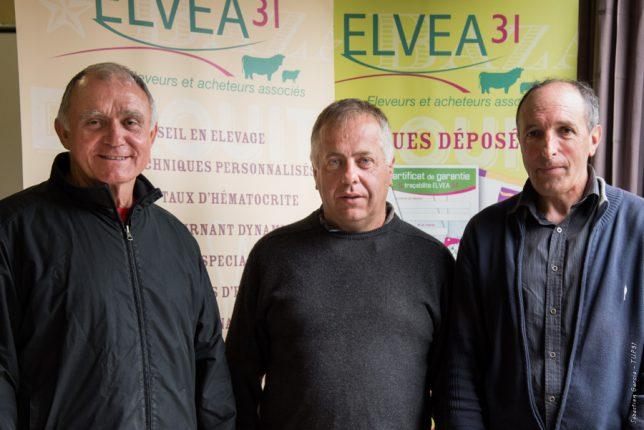 Jean-Pierre Duclos (à gauche) passe le relais à Alain Taurignan (centre), secrétaire général, et Daniel Abadie, co-président d'Elvea31.