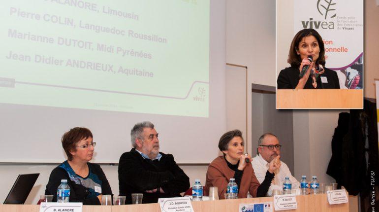 Pour Marianne Dutoit (au centre) et Béatrice Dingli (en médaillon), relever le défi d'une agriculture économique et durable passe par une intensification de la formation.